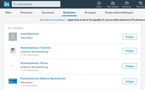 LinkedIn zoeken bedrijven